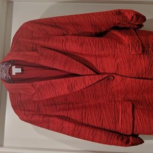 Chico's Red Rouched Jacket Size 3
